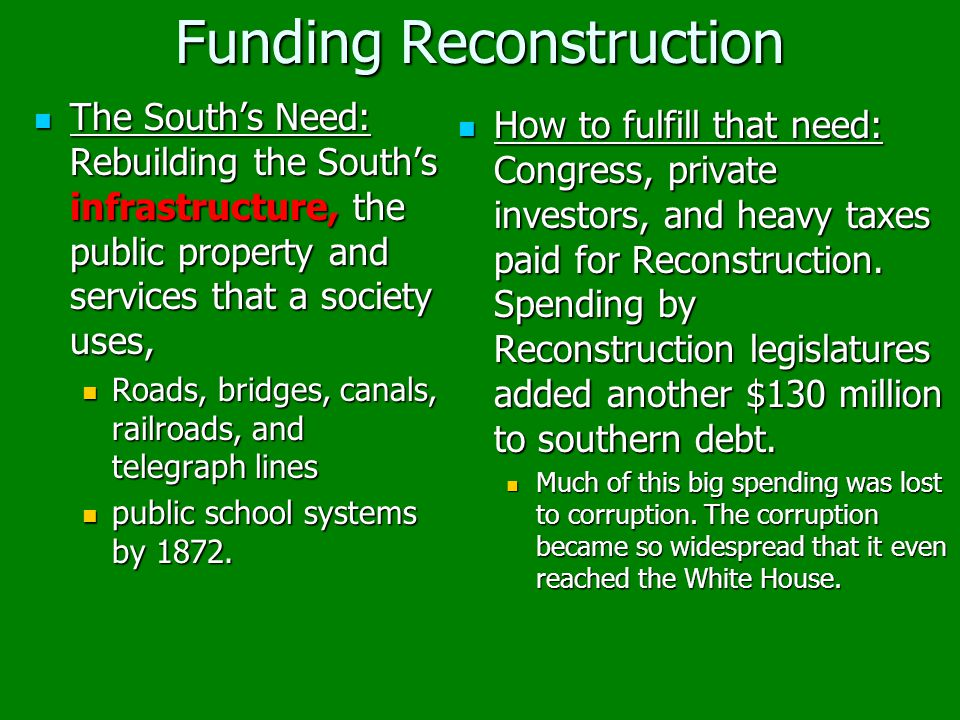 Funding Reconstruction The South's Need: Rebuilding the South's infrastructure, the public property and services that a society uses, The South's Need