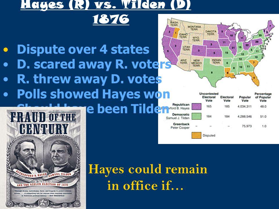 Hayes (R) vs. Tilden (D) 1876 Dispute over 4 states D. scared away R. voters R. threw away D. votes Polls showed Hayes won Should have been Tilden Hay