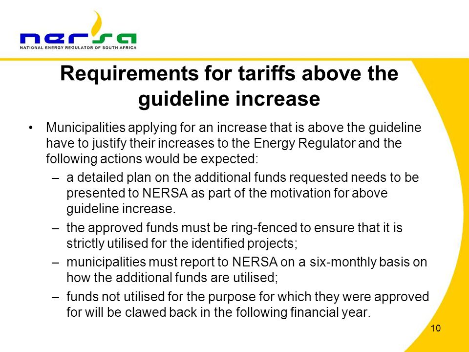 Requirements for tariffs above the guideline increase Municipalities applying for an increase that is above the guideline have to justify their increa