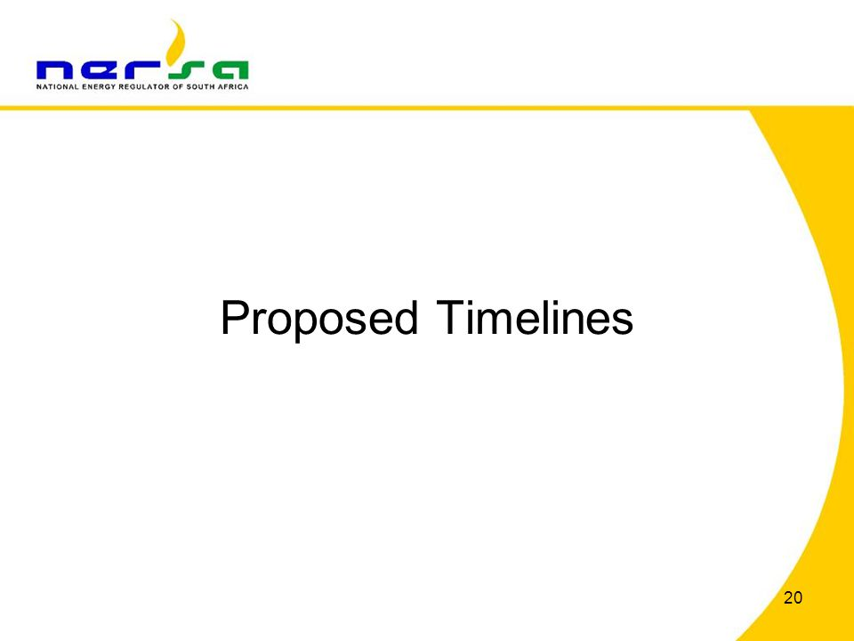 Proposed Timelines 20