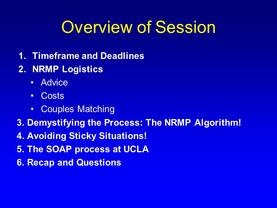 Overview of Session 1.Timeframe and Deadlines 2.NRMP Logistics Advice Costs Couples Matching 3.Demystifying the Process: The NRMP Algorithm! 4.Avoidin