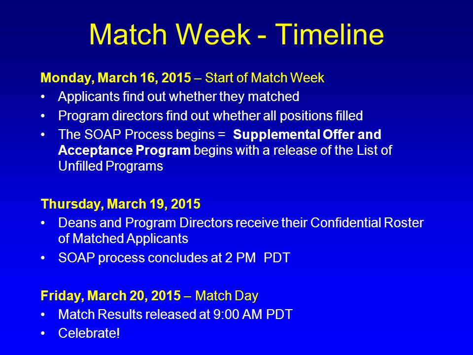 Match Week - Timeline Monday, March 16, 2015 – Start of Match Week Applicants find out whether they matched Program directors find out whether all pos