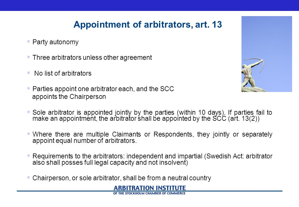 Appointment of arbitrators, art.