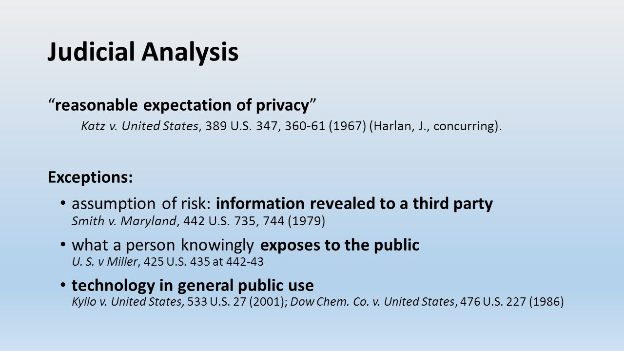 Judicial Analysis reasonable expectation of privacy Katz v.