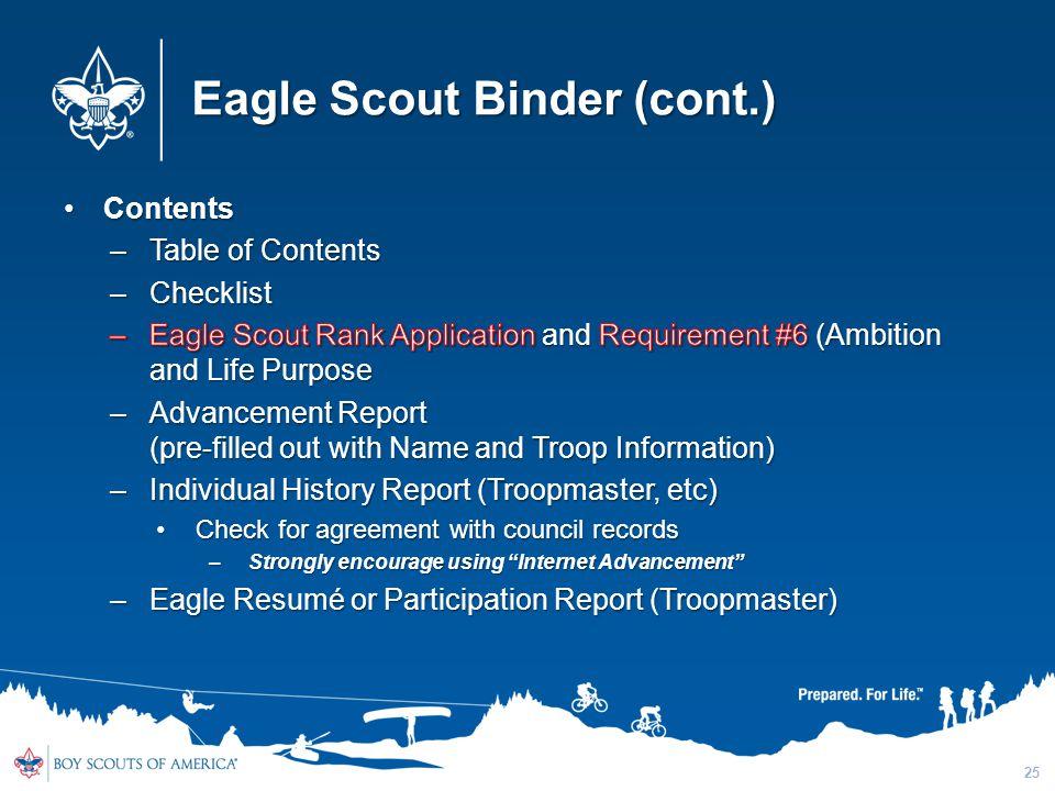 Eagle Scout Binder (cont.) 25