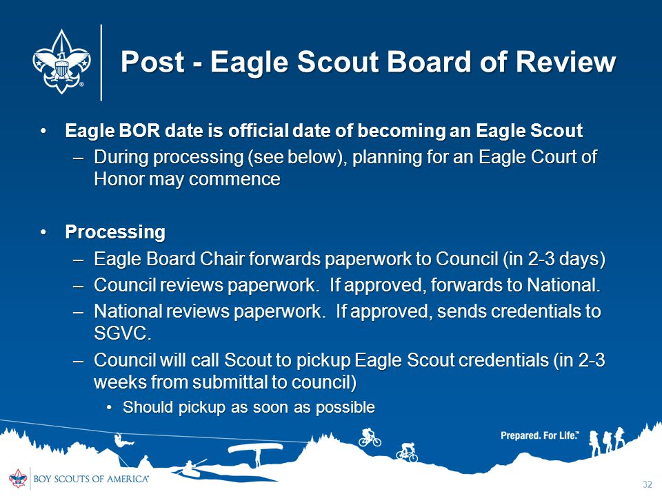 Post - Eagle Scout Board of Review Eagle BOR date is official date of becoming an Eagle ScoutEagle BOR date is official date of becoming an Eagle Scou