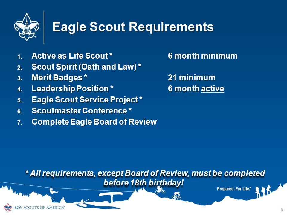 Eagle Scout Requirements 1. Active as Life Scout * 6 month minimum 2. Scout Spirit (Oath and Law) * 3. Merit Badges *21 minimum 4. Leadership Position