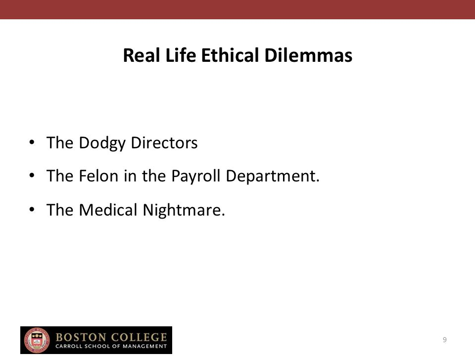 Real Life Ethical Dilemmas The Dodgy Directors The Felon in the Payroll Department.
