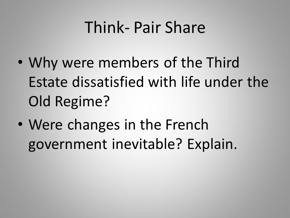 Think- Pair Share Why were members of the Third Estate dissatisfied with life under the Old Regime? Were changes in the French government inevitable?