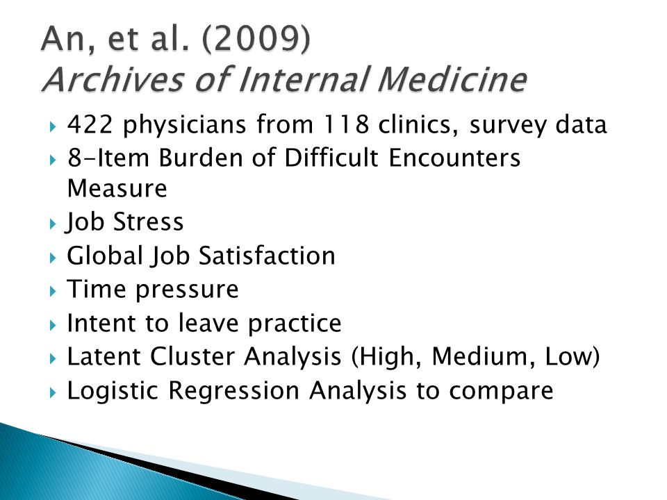  422 physicians from 118 clinics, survey data  8-Item Burden of Difficult Encounters Measure  Job Stress  Global Job Satisfaction  Time pressure
