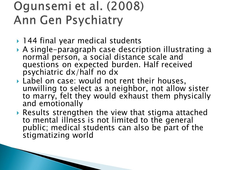  144 final year medical students  A single-paragraph case description illustrating a normal person, a social distance scale and questions on expecte
