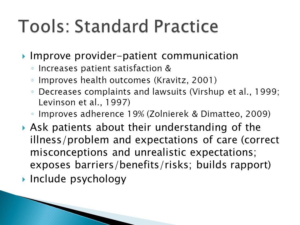  Improve provider-patient communication ◦ Increases patient satisfaction & ◦ Improves health outcomes (Kravitz, 2001) ◦ Decreases complaints and laws