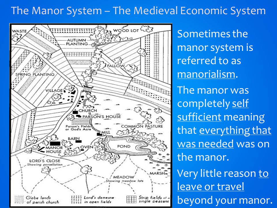 Sometimes the manor system is referred to as manorialism.