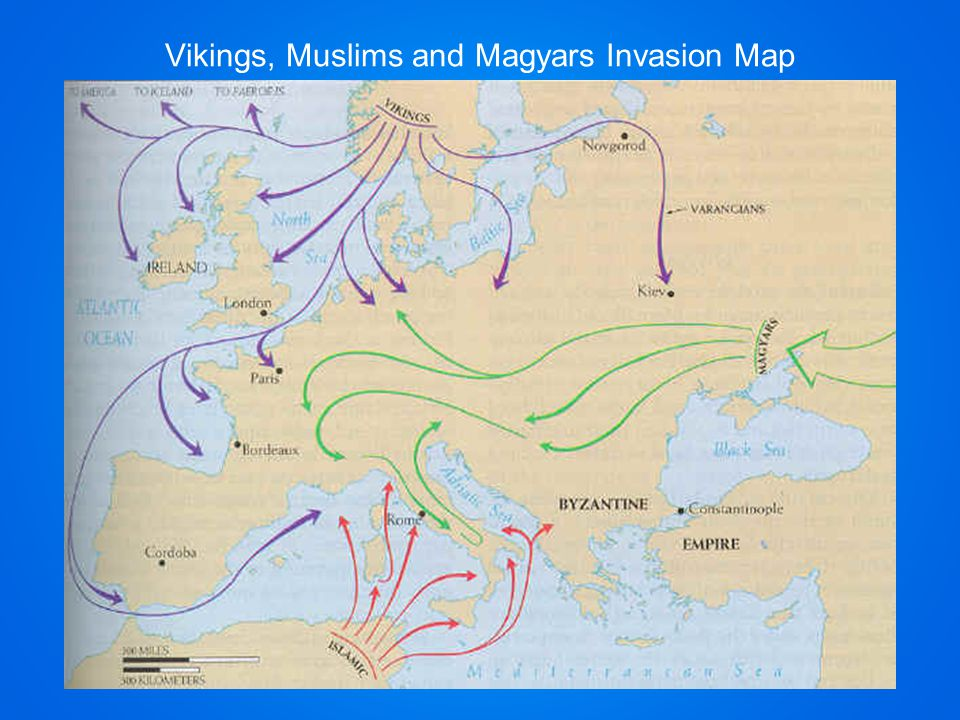 Vikings, Muslims and Magyars Invasion Map