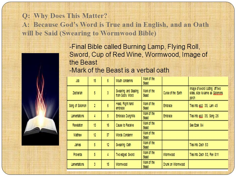 Q: Why Does This Matter? A: Because God's Word is True and in English, and an Oath will be Said (Swearing to Wormwood Bible) -Final Bible called Burni