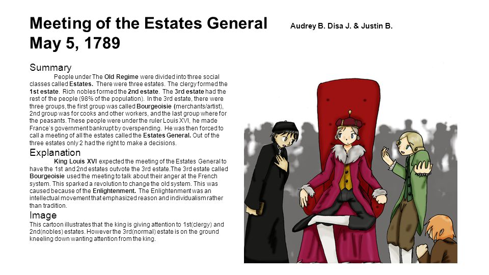 Meeting of the Estates General Audrey B. Disa J. & Justin B. May 5, 1789 Summary People under The Old Regime were divided into three social classes ca