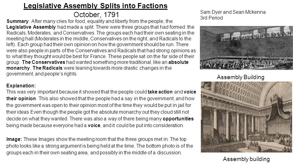 Legislative Assembly Splits into Factions October, 1791 Summary: After many cries for food, equality and liberty from the people, the Legislative Asse