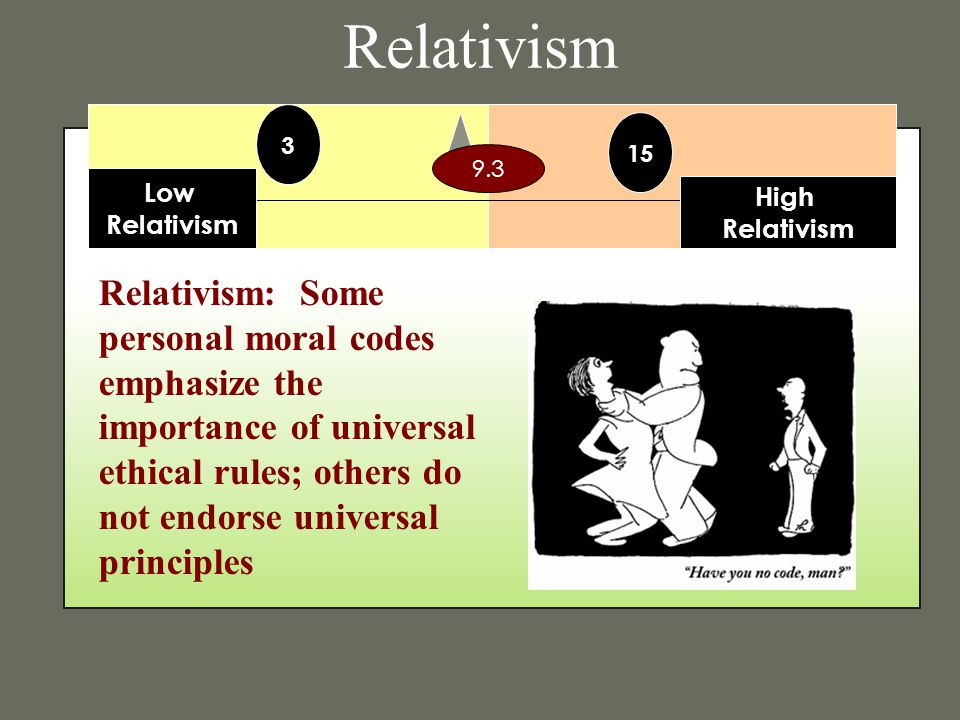 Relativism Relativism: Some personal moral codes emphasize the importance of universal ethical rules; others do not endorse universal principles Low R