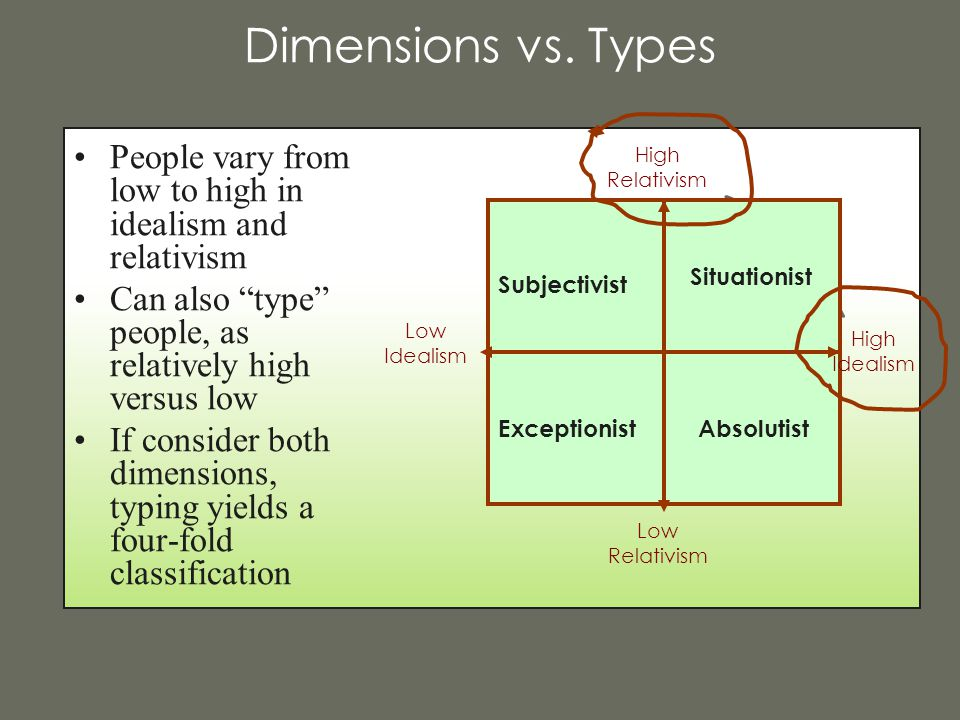 """Dimensions vs. Types People vary from low to high in idealism and relativism Can also """"type"""" people, as relatively high versus low If consider both di"""