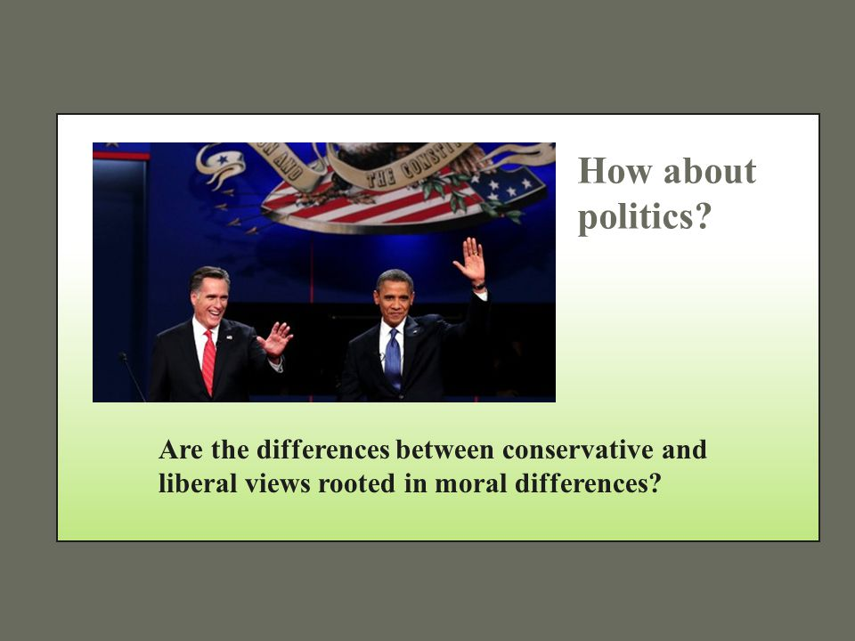 How about politics? Are the differences between conservative and liberal views rooted in moral differences?