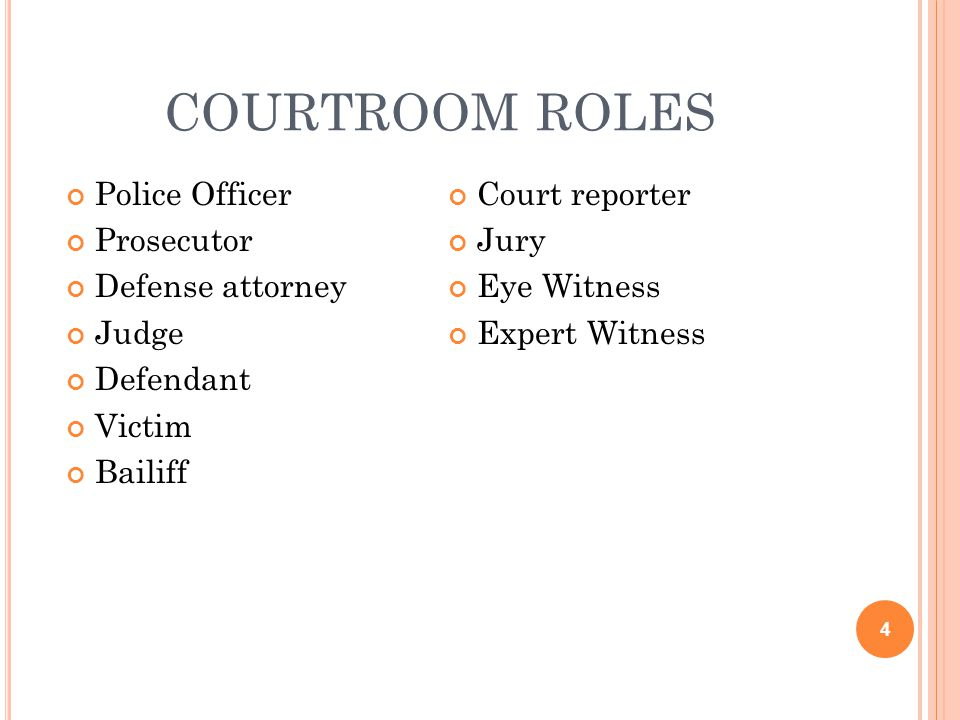 COURTROOM ROLES Police Officer Prosecutor Defense attorney Judge Defendant Victim Bailiff Court reporter Jury Eye Witness Expert Witness 4