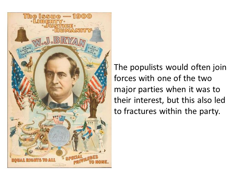 The populists would often join forces with one of the two major parties when it was to their interest, but this also led to fractures within the party.