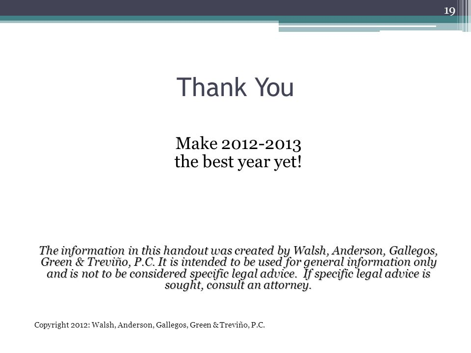 Thank You Make 2012-2013 the best year yet.