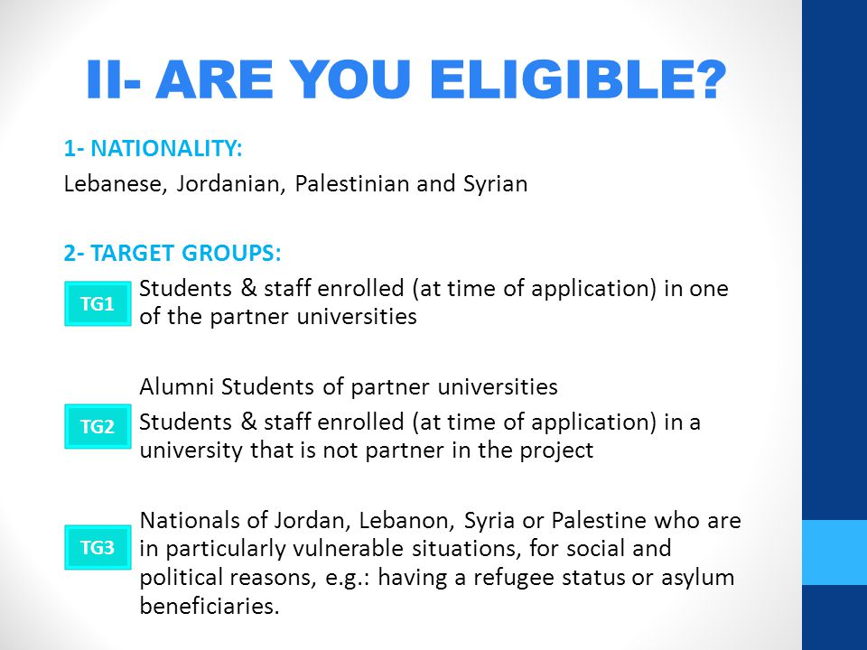 II- ARE YOU ELIGIBLE.