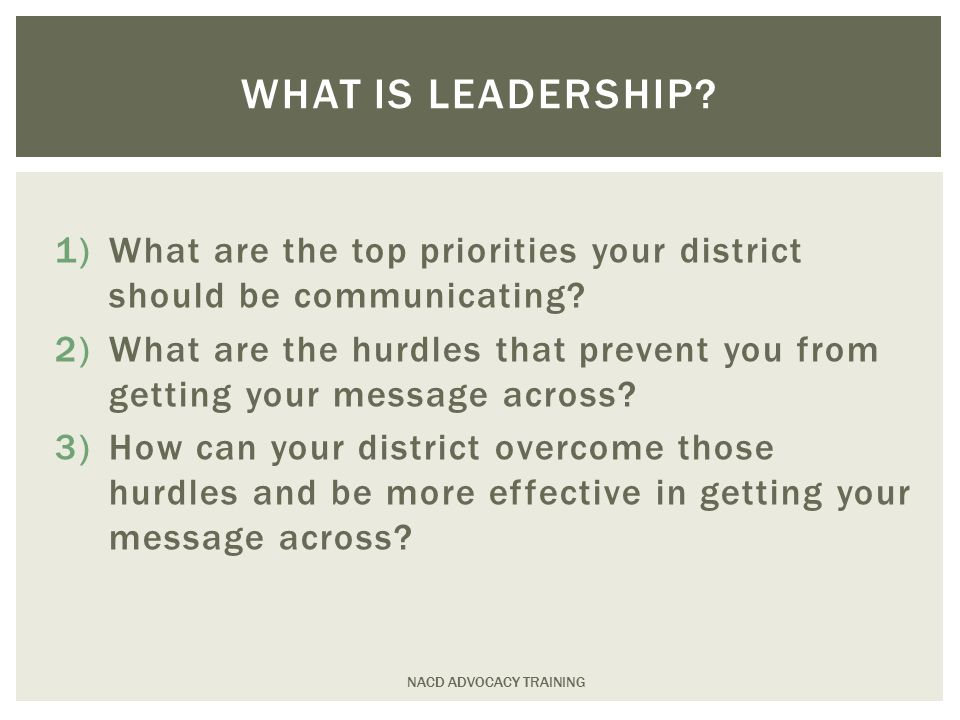 1)What are the top priorities your district should be communicating.