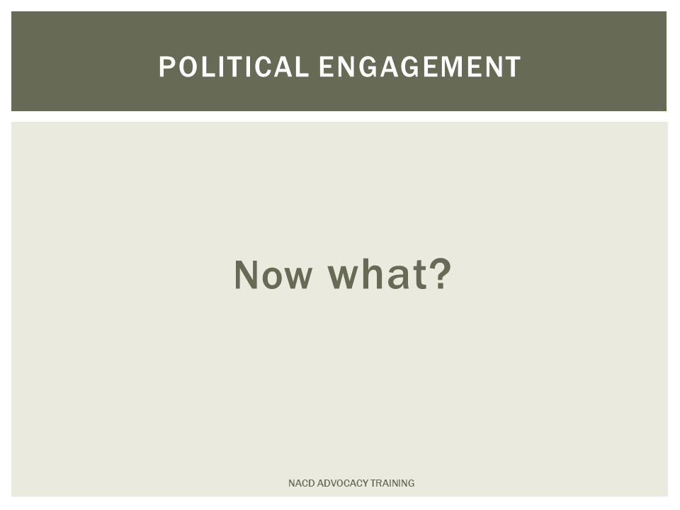 Now what NACD ADVOCACY TRAINING POLITICAL ENGAGEMENT