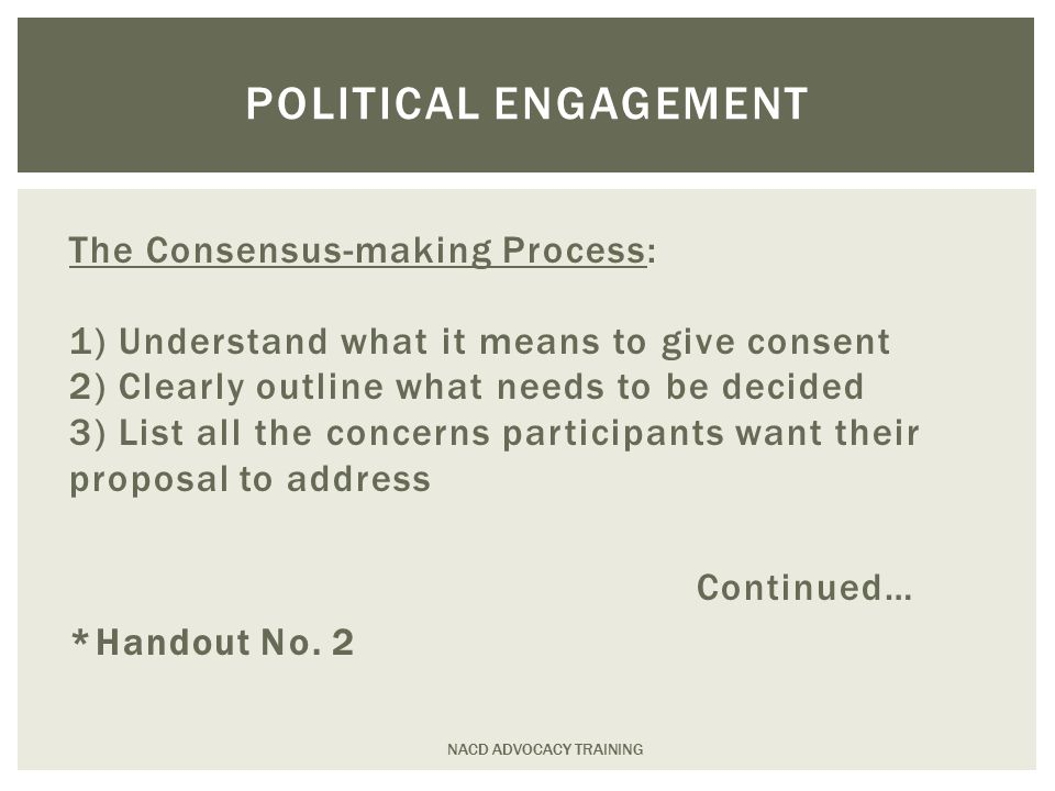 The Consensus-making Process: 1) Understand what it means to give consent 2) Clearly outline what needs to be decided 3) List all the concerns participants want their proposal to address Continued… *Handout No.