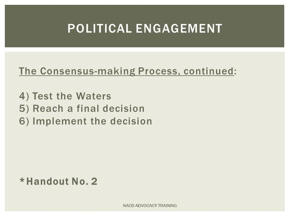 The Consensus-making Process, continued: 4) Test the Waters 5) Reach a final decision 6) Implement the decision *Handout No.