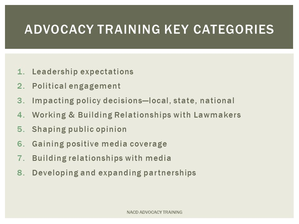 1.Leadership expectations 2.Political engagement 3.Impacting policy decisions—local, state, national 4.Working & Building Relationships with Lawmakers 5.Shaping public opinion 6.Gaining positive media coverage 7.Building relationships with media 8.Developing and expanding partnerships ADVOCACY TRAINING KEY CATEGORIES NACD ADVOCACY TRAINING