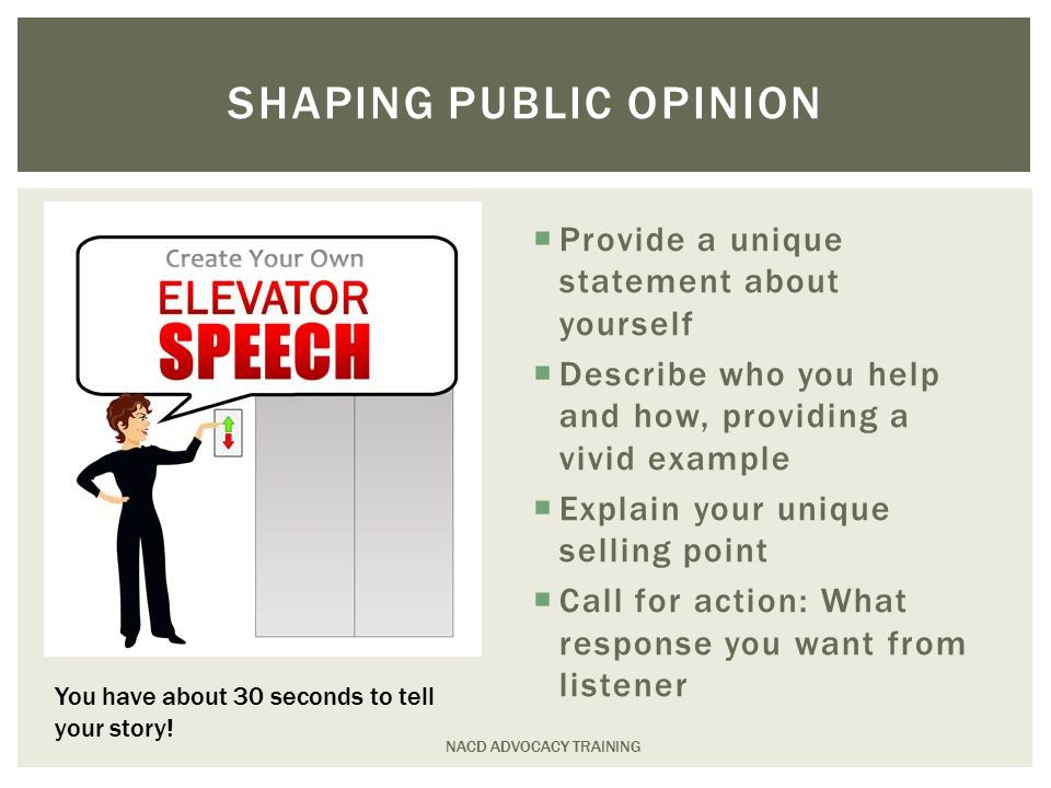  Provide a unique statement about yourself  Describe who you help and how, providing a vivid example  Explain your unique selling point  Call for action: What response you want from listener NACD ADVOCACY TRAINING SHAPING PUBLIC OPINION You have about 30 seconds to tell your story!