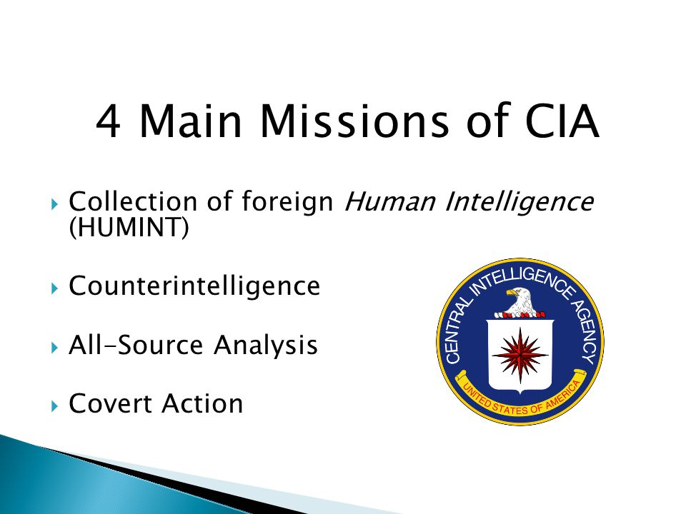 4 Main Missions of CIA  Collection of foreign Human Intelligence (HUMINT)  Counterintelligence  All-Source Analysis  Covert Action
