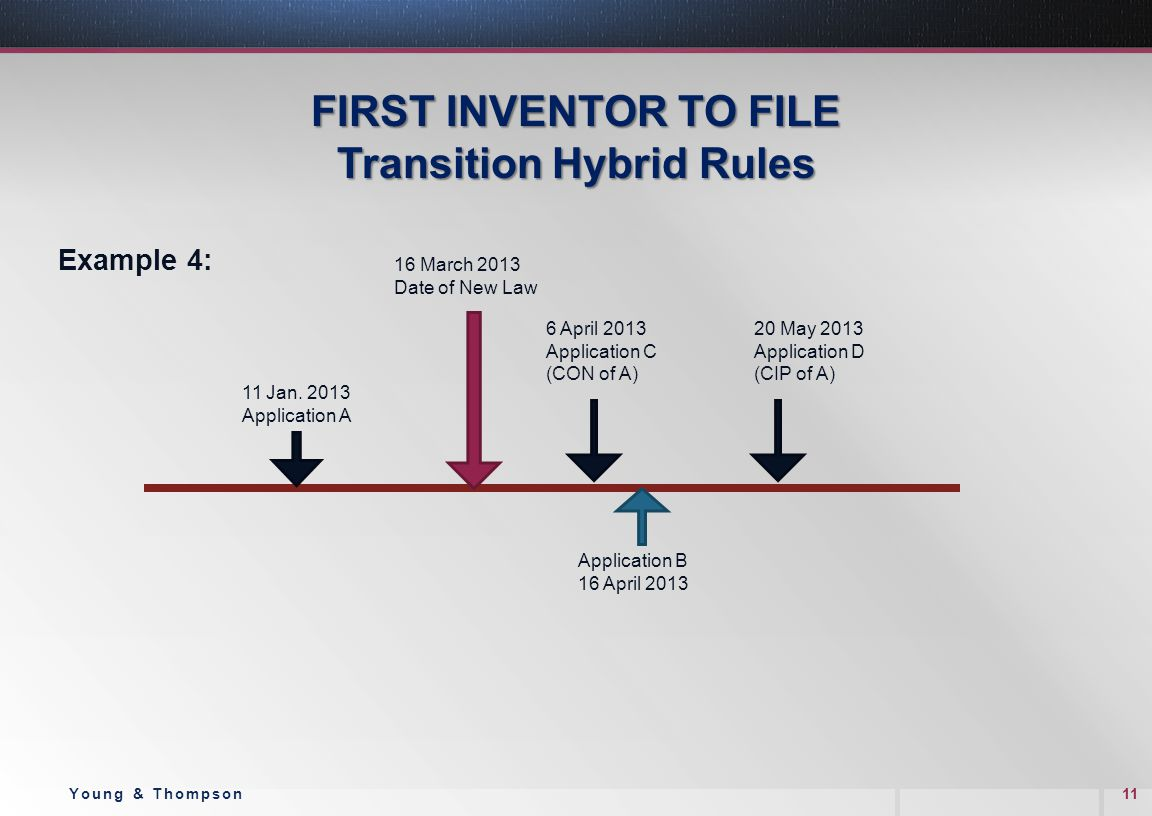 FIRST INVENTOR TO FILE Transition Hybrid Rules Example 4: 11Young & Thompson 11 Jan. 2013 Application A 6 April 2013 Application C (CON of A) 16 March