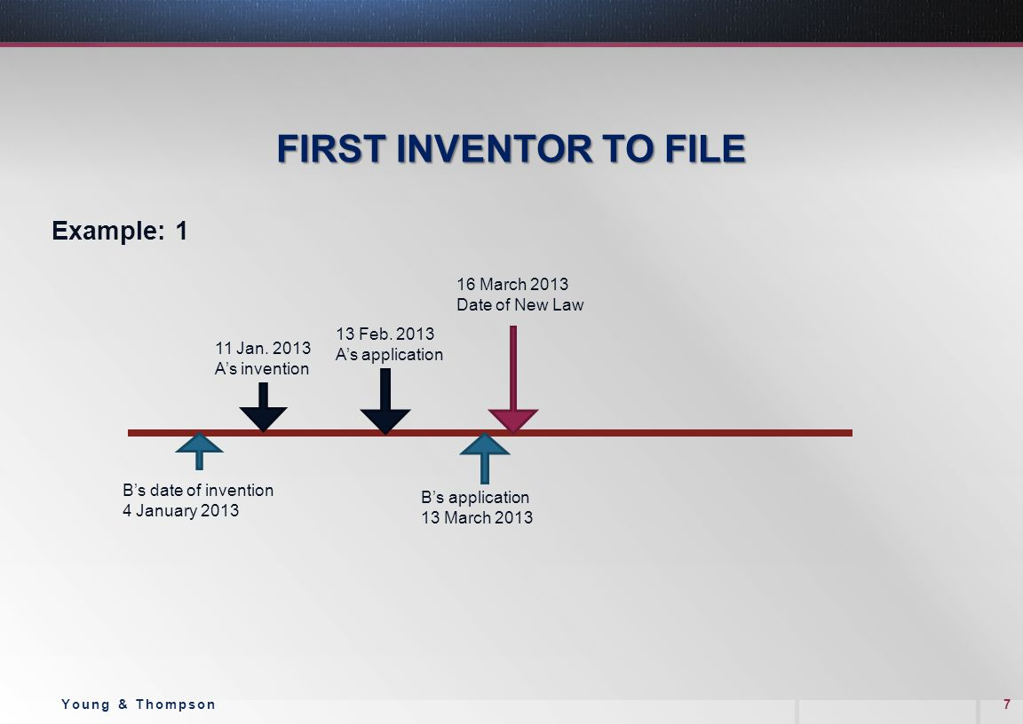 FIRST INVENTOR TO FILE Example: 1 7Young & Thompson B's date of invention 4 January 2013 11 Jan.