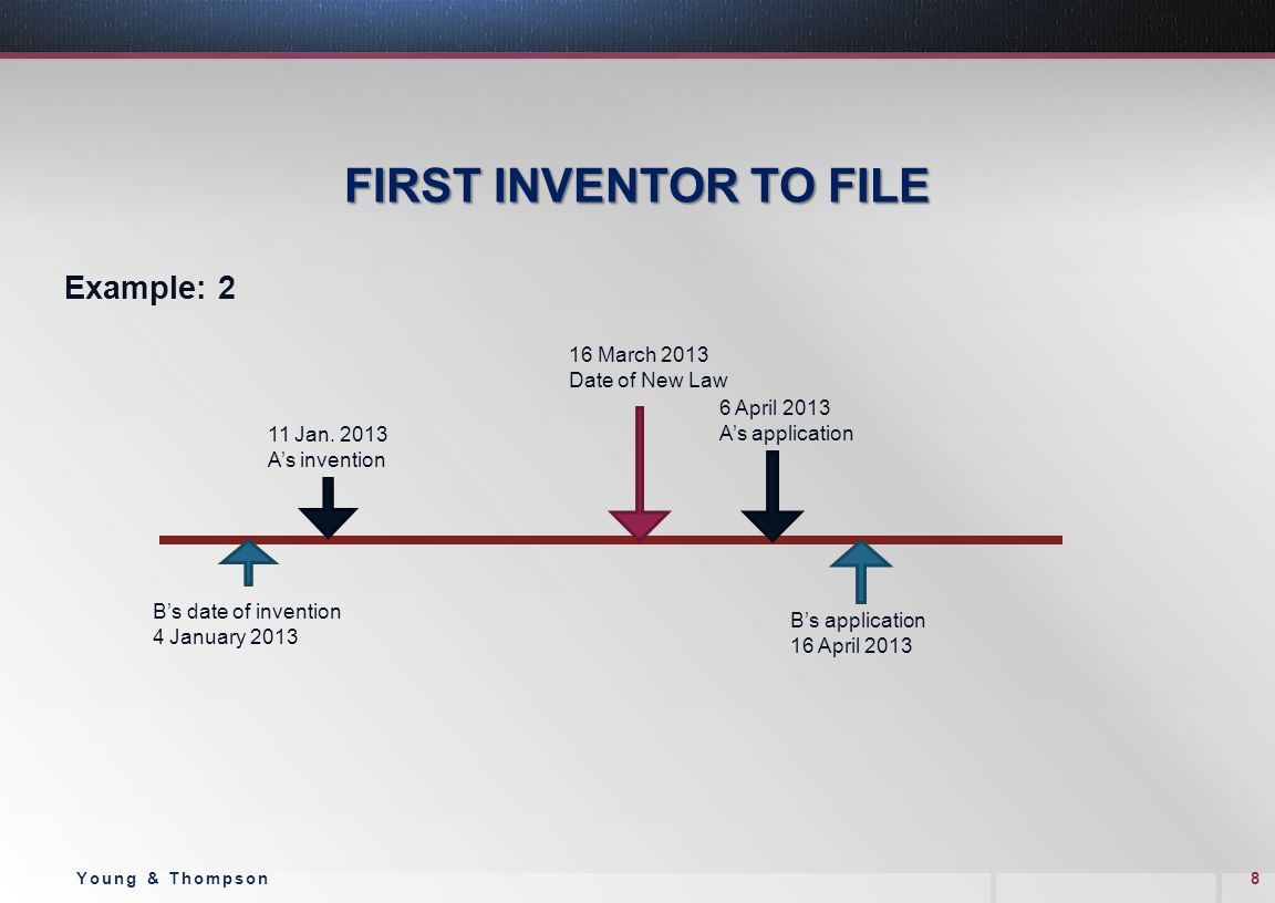 FIRST INVENTOR TO FILE Example: 2 8Young & Thompson B's date of invention 4 January 2013 11 Jan. 2013 A's invention 6 April 2013 A's application 16 Ma