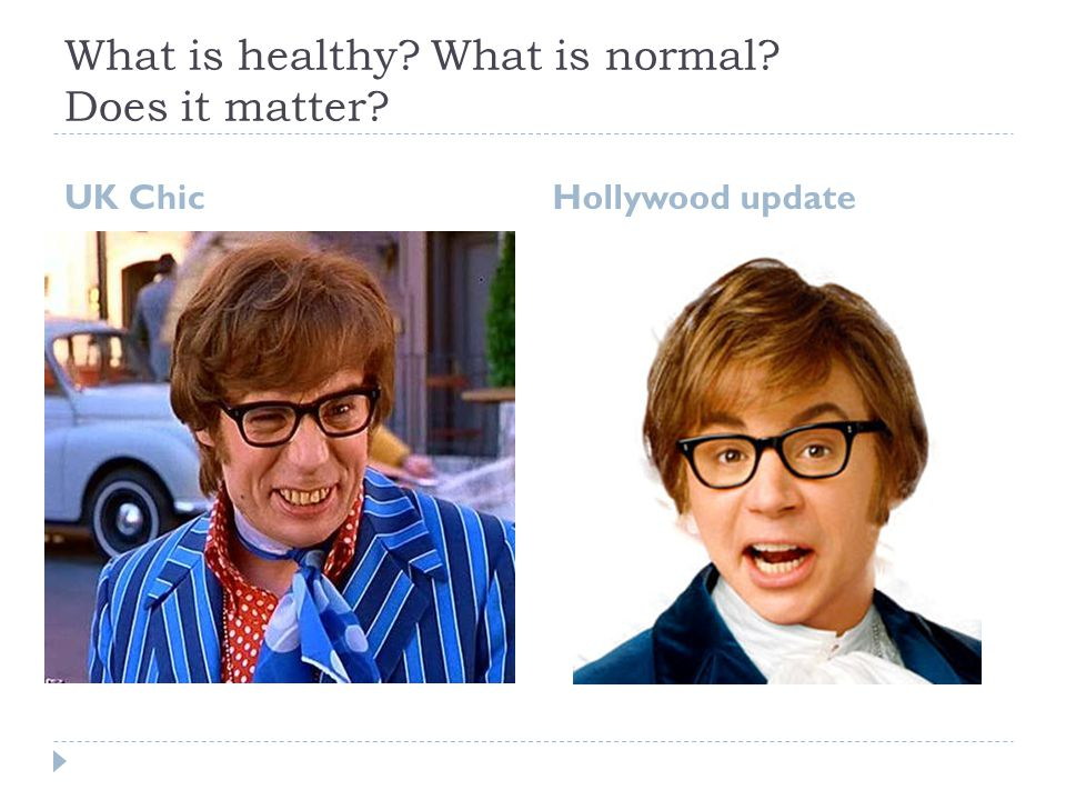 What is healthy What is normal Does it matter UK Chic Hollywood update