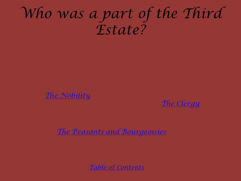 Who was a part of the Third Estate.