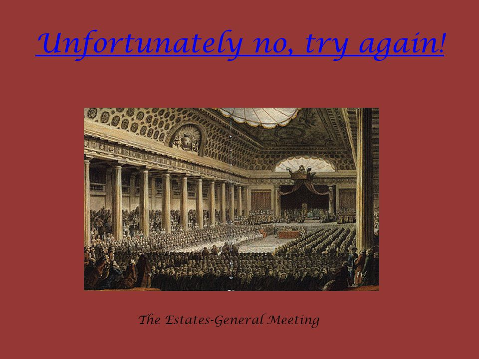 Unfortunately no, try again! The Estates-General Meeting