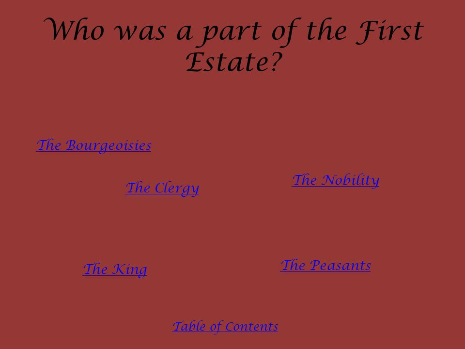 Who was a part of the First Estate? The Clergy The Nobility The King The Peasants The Bourgeoisies Table of Contents