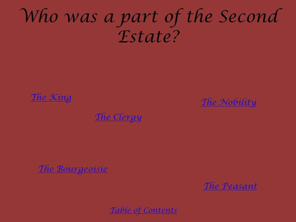 Who was a part of the Second Estate.
