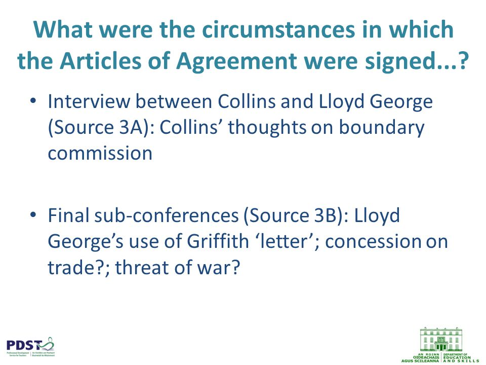 What were the circumstances in which the Articles of Agreement were signed....