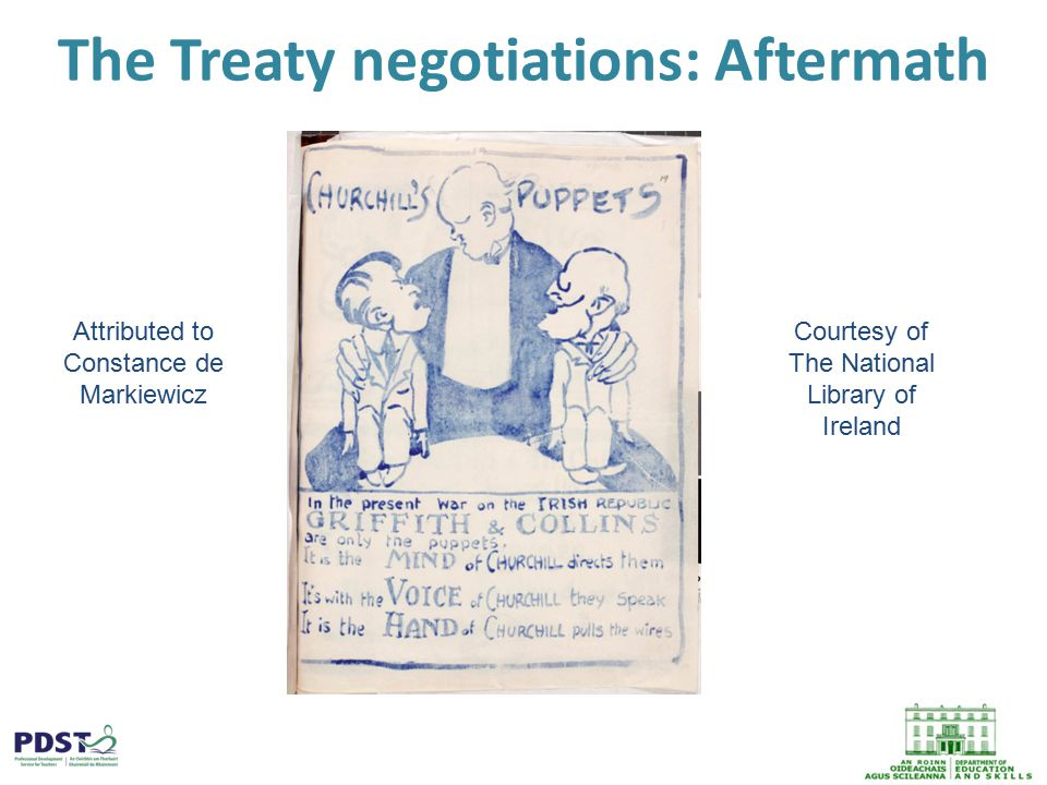The Treaty negotiations: Aftermath Attributed to Constance de Markiewicz Courtesy of The National Library of Ireland