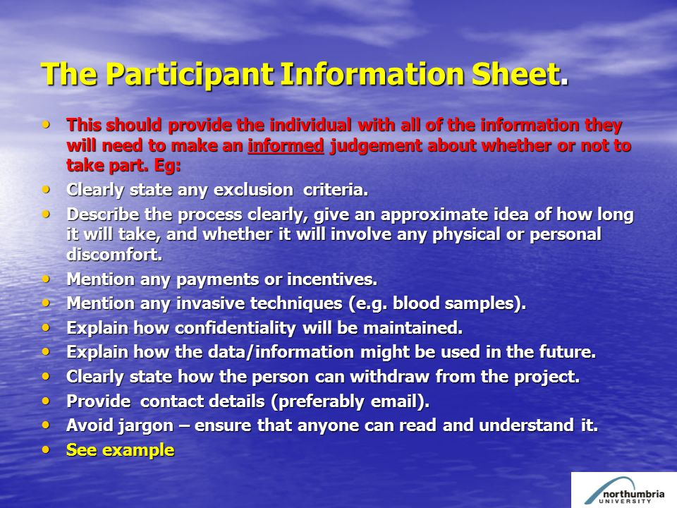 The Participant Information Sheet.