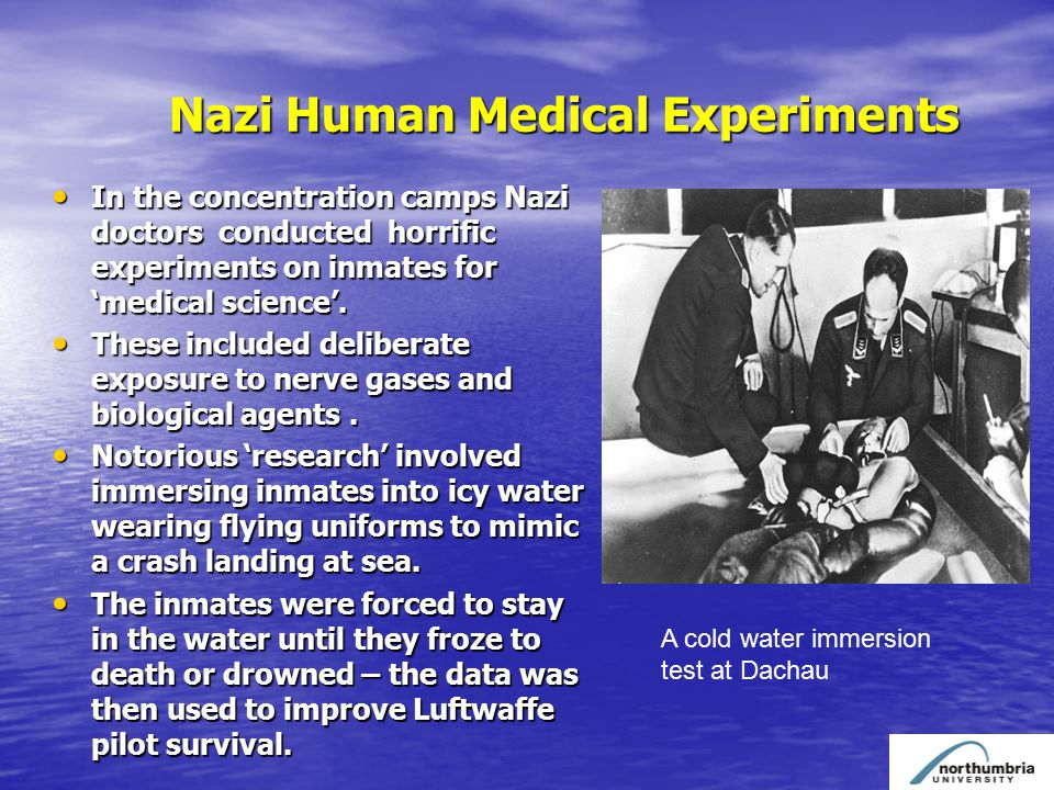 Nazi Human Medical Experiments In the concentration camps Nazi doctors conducted horrific experiments on inmates for 'medical science'.