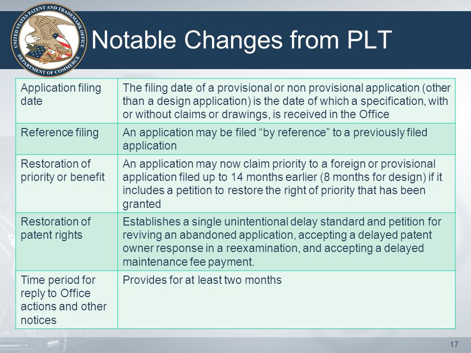 Notable Changes from PLT Application filing date The filing date of a provisional or non provisional application (other than a design application) is