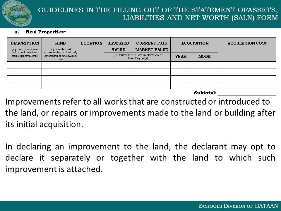 S CHOOLS D IVISION OF BATAAN GUIDELINES IN THE FILLING OUT OF THE STATEMENT OFASSETS, LIABILITIES AND NET WORTH (SALN) FORM Improvements refer to all works that are constructed or introduced to the land, or repairs or improvements made to the land or building after its initial acquisition.