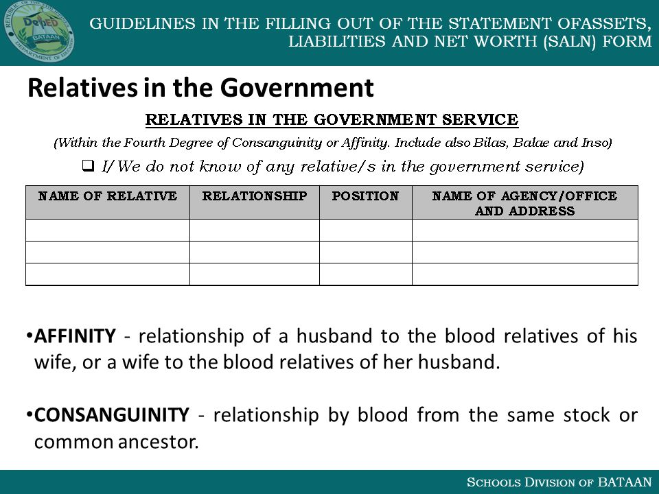 S CHOOLS D IVISION OF BATAAN GUIDELINES IN THE FILLING OUT OF THE STATEMENT OFASSETS, LIABILITIES AND NET WORTH (SALN) FORM Relatives in the Government AFFINITY - relationship of a husband to the blood relatives of his wife, or a wife to the blood relatives of her husband.